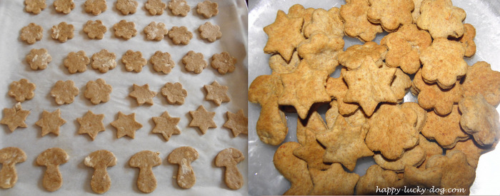 Delicious chicken dog treats before and after backed.