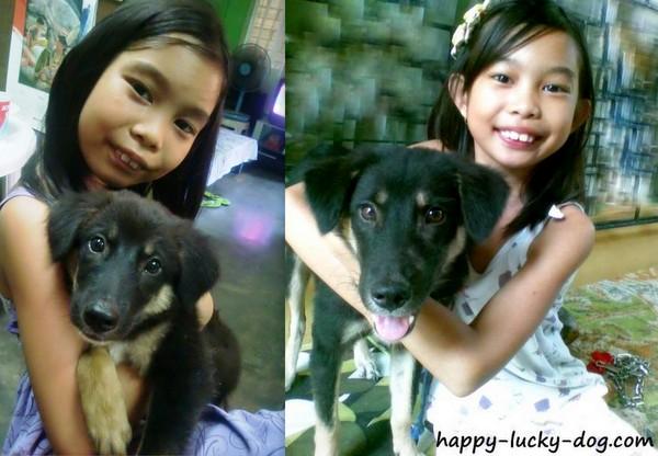 Sweel little girl with her dog, Big Ben
